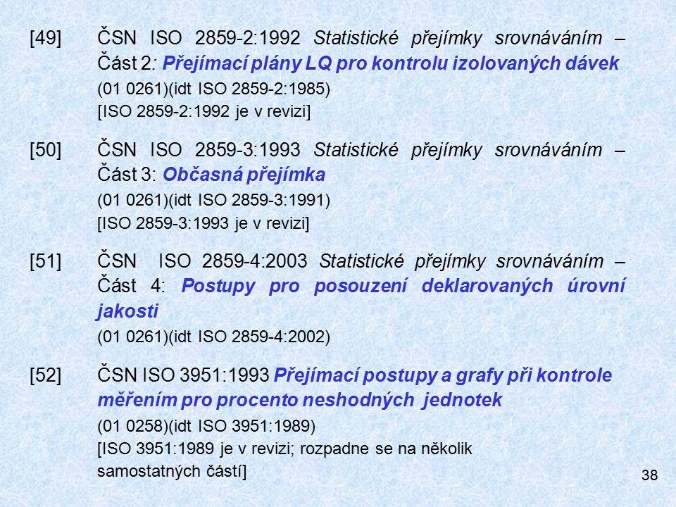 [49]. ČSN ISO 2859-2:1992 Statistické přejímky srovnáváním –